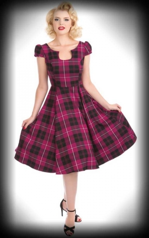 Hearts and Roses Tea Dress - Purple Tartan