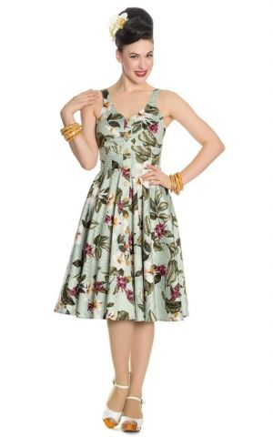 Hell Bunny - Hawaii Swing Dress Tahiti, green