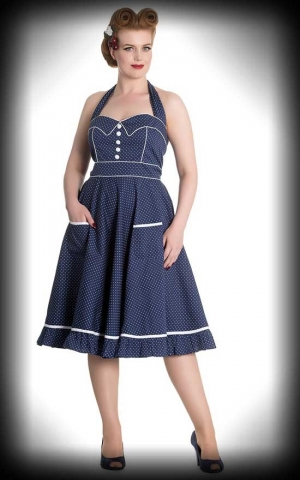 Hellbunny - Polka Dot Dress Vanity, blue and white