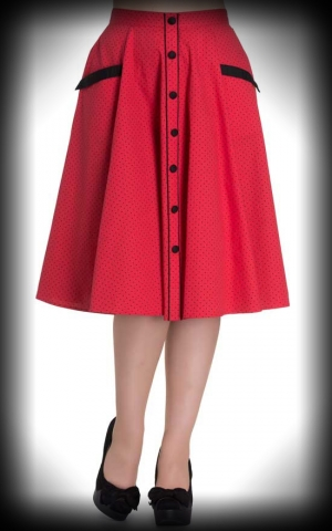 Hellbunny Skirt Martie, Polkadots red black