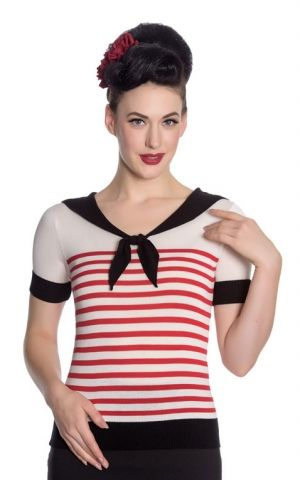 Hellbunny Matrosen Top Coco Stripe