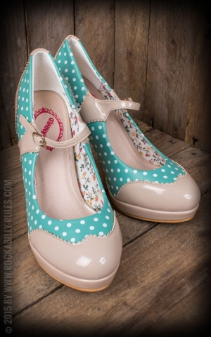 High Heels Mary Jane - Polkadot mint/nude