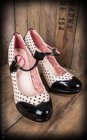 High Heels Mary Jane - Polkadot schwarz/nude