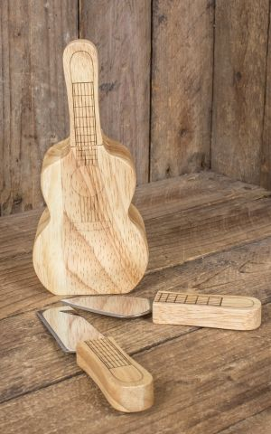 Cheese knife set in wooden block in guitar shape
