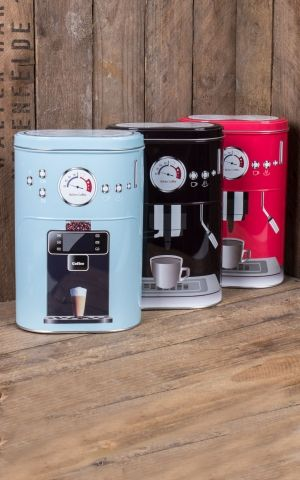 Metal coffee tin coffee machine, different colours