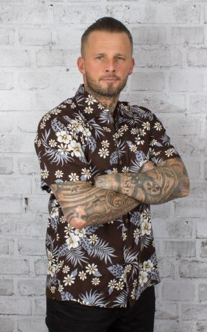 Karmakula Hawaiian Shirt - Bahamas, Dark Brown