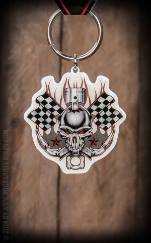 Keychain - Racing Skull | Flags and Stars