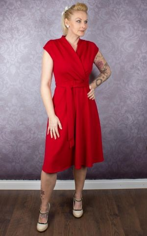 Very Cherry Dress - Cross Over Red Crepe