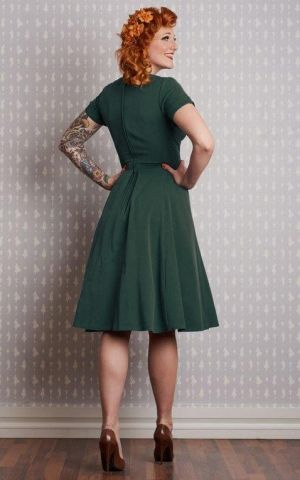 Miss Candyfloss Swing Dress Elena-Kat, green