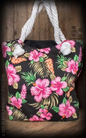 Küstenluder Canvas Shopper Tropical Hibiscus Loura