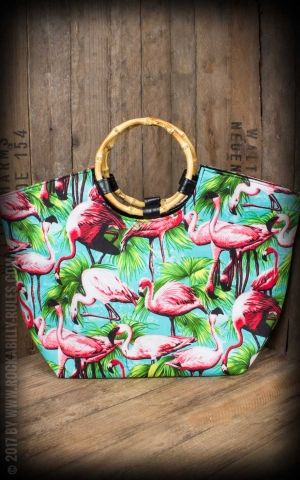 Küstenluder Bambus Shopper Tropical Flamant Marla