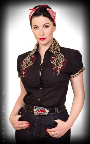 Rumble59 Ladies - Blouse Heaven n Hell - leo patch