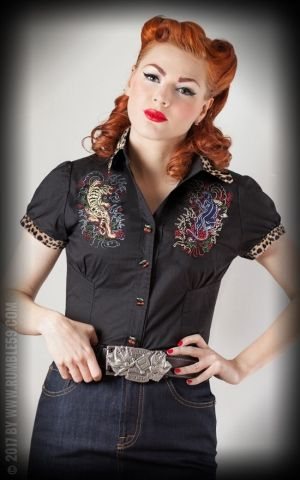 Rumble59 Ladies - Blouse Born to be wild - leo patch