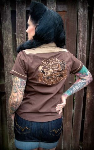 Rumble59 Ladies - Bluse The Woodie Garage - braun