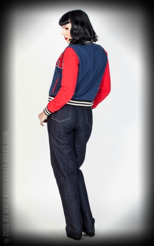Rumble59 - Sweat College Jacke - dunkelblau/rot