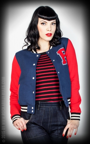 Rumble59 - Sweat College Jacket - bleu foncé/rouge