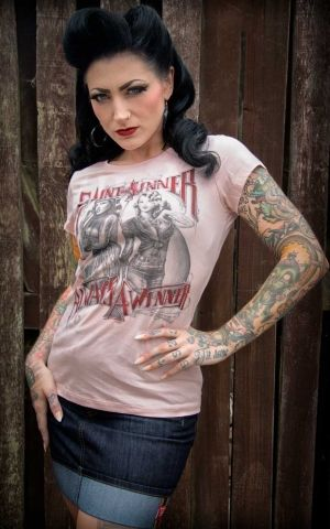 Rumble59 - Ladies T-Shirt - Saint or Sinner - rosa