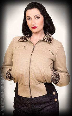 Rumble59 - Ladies Jacke mit Leo Patch - beige