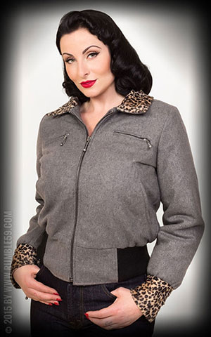 Rumble59 - Ladies Jacket with Leo Patch - grey