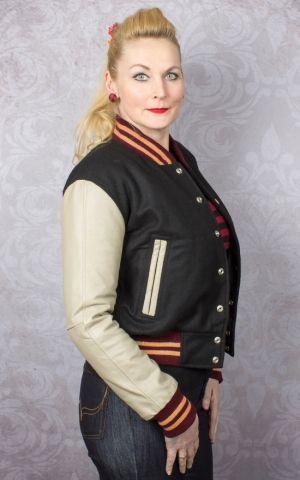 Lady Leder Baseball Jacke - schwarz/creme