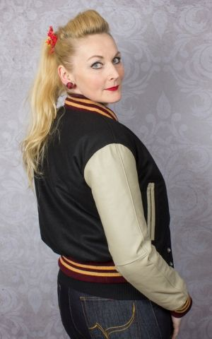Lady Leather Baseball Jacket - black/creme