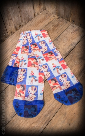 Strümpfe - Socken - Lady Knee High Blue And Red Retro