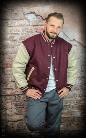 Leather baseball Jacket -bordeaux-