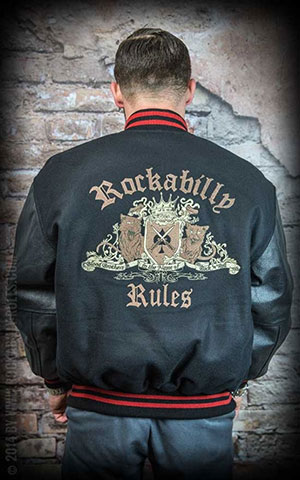 Leather baseball Jacket - Rockabilly Rules