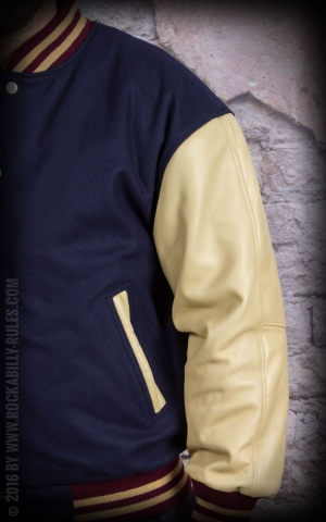 Leather Baseball Jacket - navy blue/beige -