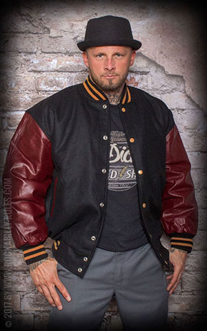 Leather Baseball Jacket - black/bordeaux