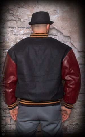 Leather Baseball Jacket - black/bordeaux
