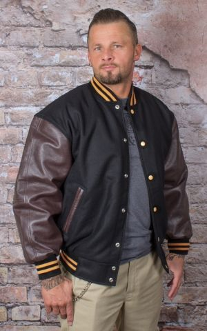 Leather Baseball Jacket - noir/marron