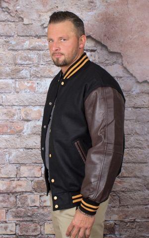 Leder Baseball Jacke - schwarz/braun
