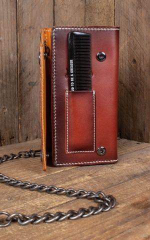 Rumble59 - Cuir Wallet Peigne - sunburst fait main