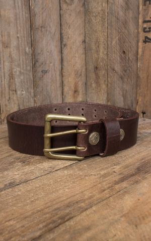 Rumble59 Leather belt with double prong buckle + pocket, used brown