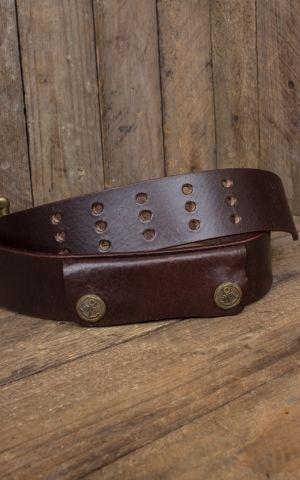 Rumble59 Ledergürtel mit Doppelsteg-Schnalle + Tasche, used braun