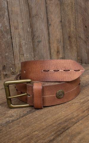 Rumble59 Ledergürtel mit Ziernaht, hellbraun