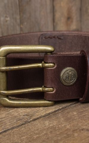 Rumble59 Ledergürtel mit Doppelsteg-Schnalle, used braun