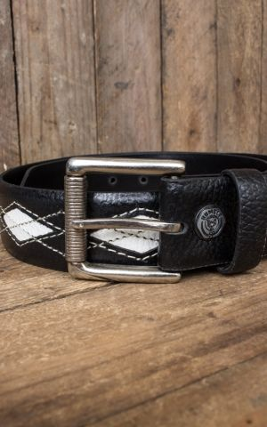 Rumble59 Leather Belt Diamond - black/offwhite