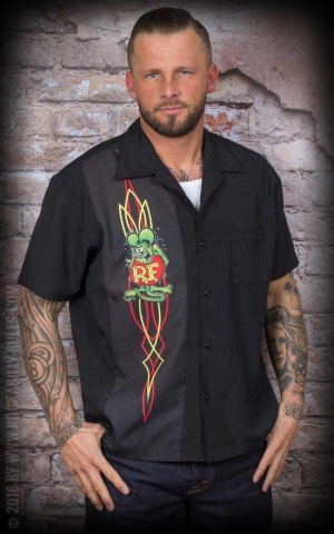 Licensed Steady Shirt - Rat Fink Pinstripe Panel Button Up