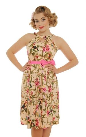 Lindy Bop Swing Dress with bow Tropical Cherel