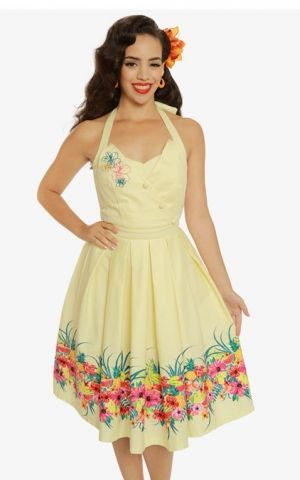 Lindy Bop Halterneck Swing Dress Tropical Myrtle