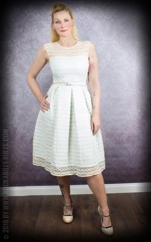 Lindy Bop Spitzen Swing Kleid Harlow mit Gürtel, hellblau creme