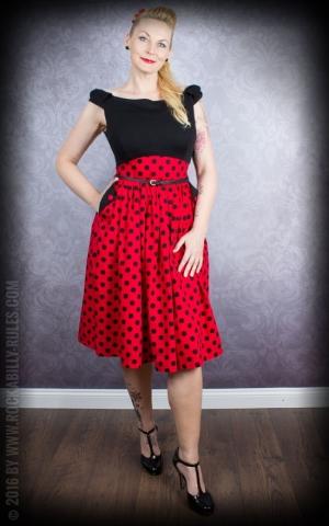 Lindy Bop Polkadot Swing Carmen-Kleid Carla, rot schwarz