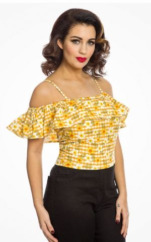Lindy Bop Yellow Vichy Gingham Floral Top Charo