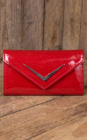 Liquor Brand - Wallet Chevron Vintage Time, red