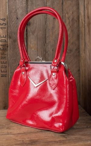 Liquorbrand V8 Handbag Chevron Kisslock, red