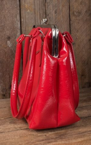 Liquorbrand V8 Handbag Chevron Kisslock, red