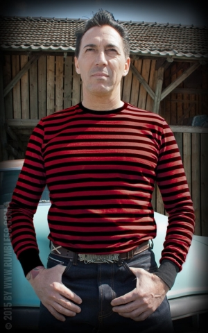Rumble59 - Striped Longsleeve - black/ red