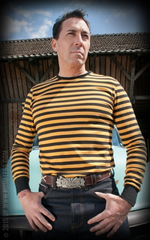 Rumble59 - Striped Longsleeve - mustard/ black
